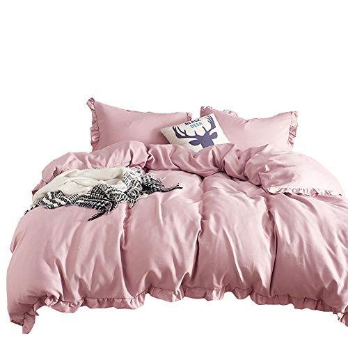 Lanqinglv 2tlg Bettwäsche Rüschen 135x200 Rosa Altrosa Einfarbig Uni Romantisch Wende Mikrofaser Bettbezug Set mit 1 Kissenbezug 80x80