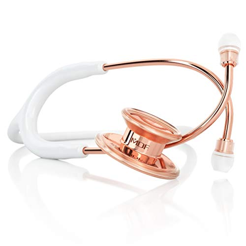 MDF® Rose Gold MD One® Stainless Steel Premium Dual Head Stethoscope - Rose Gold Edition - Free-Parts-for-Life & Lifetime Warranty - White (MDF777RG-29)