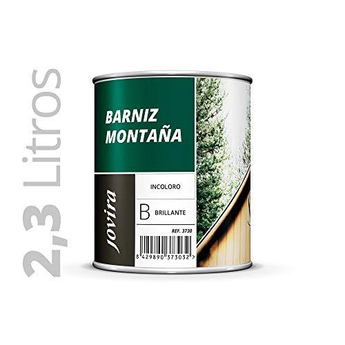 BARNIZ MADERA MONTAÑA BRILLANTE (Barniz madera exterior-interior, barniz madera incoloro-transparente). Especial resistencia en zonas montañosas. 2.3 litros