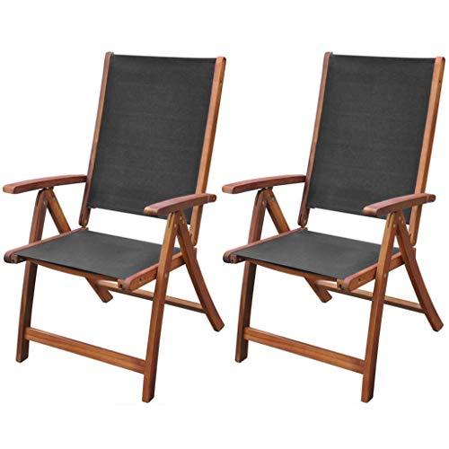 vidaXL Akazie 2X Gartenstuhl Klappstuhl Hochlehner Stuhl Stühle Gartenmöbel