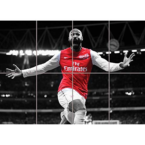 Doppelganger33 LTD Thierry Henri Arsenal Football Star Wall Art Multi Panel Poster Print 47x33 inches