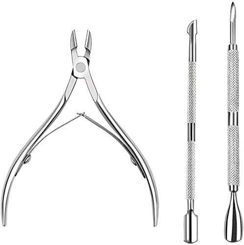 Ealicere 3 Stück Nagelhautpflege-Set mit Nagelhautzang, Nagelknipser und Nagelhautschieber aus Edelstahl(Silber)