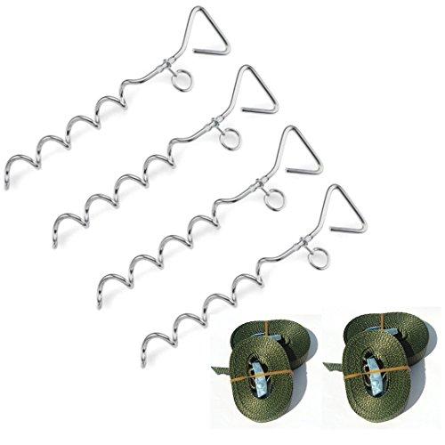 Erdanker Set (4X olivfarbene Klemmschloss Gurte, 4X Spiralhaken mit Ring)