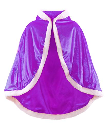 JerrisApparel Niña Princesa Capa Disfraz con Capucha Navidad Abrigos (110, Morado)