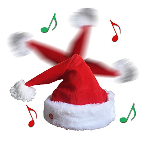 QIUYEJUO Plush Musical Novelty Christmas Hat Moving Xmas Party Hats,Funny Singing Dancing Santa Hat Adults, for Kids
