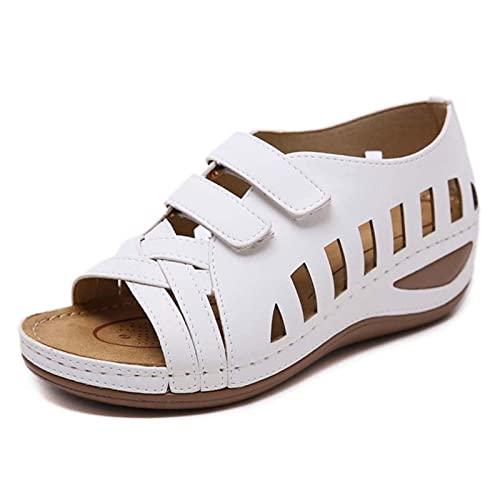 DZQQ Sandales Femmes 2020 Chaussures d'été Femmes Chaussures compensées avec Sandales à Plateforme en Cuir Souple Talons gladiateurs Sandales