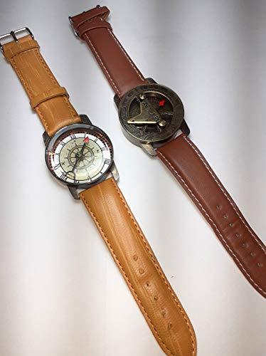 Reloj de pulsera de latón dorado envejecido con brújula y correa de piel, reloj de pulsera marrón antiguo