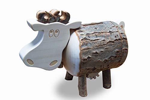 Waldfabrik Spardose Kuh Lotte aus Astholz mit Rinde - Spardose aus Holz - kreative Geldgeschenk Idee
