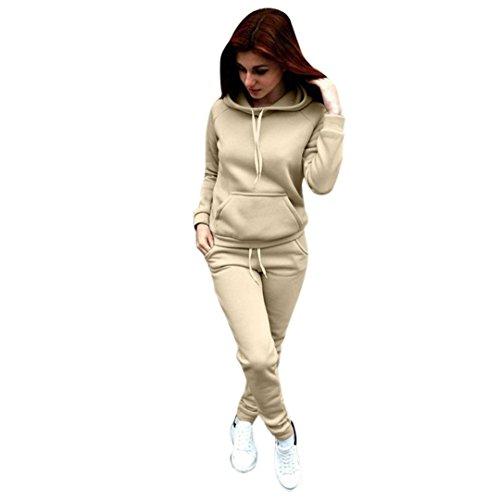 kaifongfu Blouse +Long Pant Two-Piece Outfit Women, Long Sleeve Sweatshirt Hoodie Set (L, Beige)