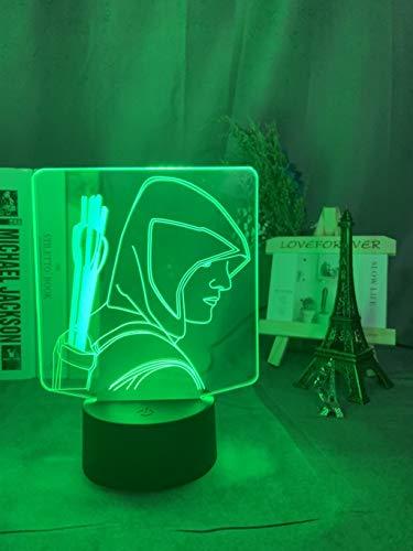 3D Lampe Superheld Green Arrow Nachtlicht für Jungen Zimmer Dekoration Farbwechsel Acryl Laser Led Nachtlicht Weihnachtsgeschenk