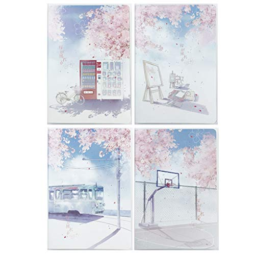HXF Paquete de 4 paquetes Sakura Temporada Impermeable Protección Ojos Funda de Goma Horizontal Cuaderno A5/32K Cuadrícula Horizontal Cuaderno de Revisión Cuaderno de Escritura