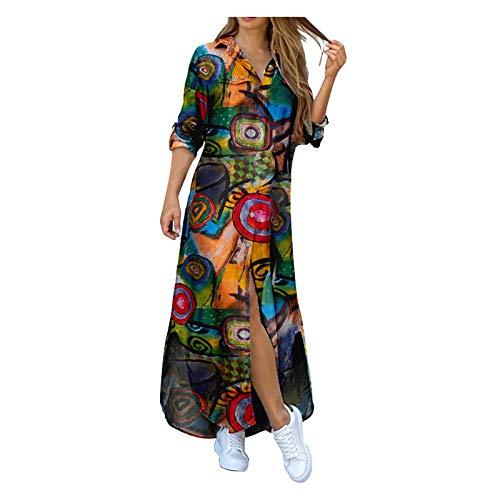 YWLINK Vestido Camisero De Mujer,Vestido Camisero Estampado con Botones De Solapa De Manga Larga para Mujer Vestido Largo Irregular,Vestido Patchwork, Falda Larga Estampada