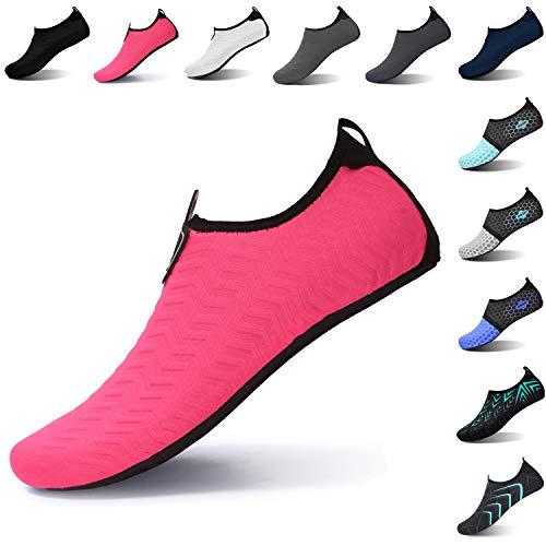 L-RUN Womens Summer Swim Shoes Slip-on Water Sports Shoes Pink XL(W:10.5-11,M:8-9)=EU41-42