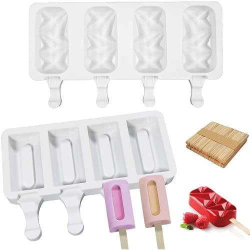 Aiiwqk 2PCS 4 Molde de champú antílico, Molde de la Paleta Libre de BPA con 50 palitos de Madera Helado Hecho en casa Diey Popsicle Cake Jelly