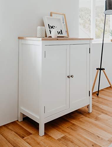 expendio Kommode Oslo 1 weiß 80x90x40 cm Sideboard Anrichte Unterschrank Wohnzimmer Esszimmer Landhausmöbel Landhausstil
