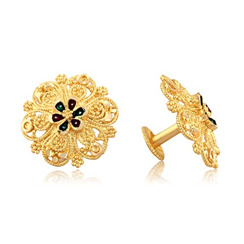 VFJ VIGHNAHARTA FASHION JEWELLERY Traditional South Screw Back Alloy Gold and Micron Plated Round Earring, Gold, Yellow