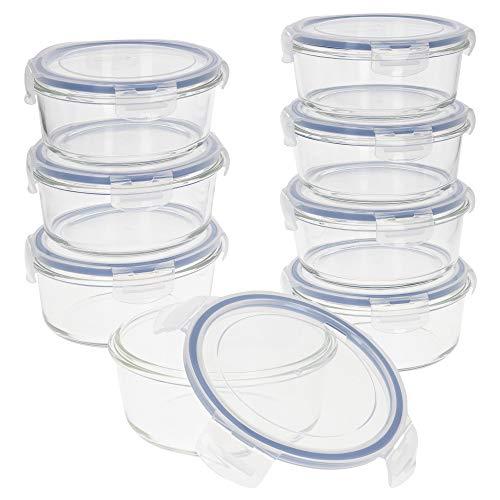 AKTIVE - Pack 8 Recipientes Herméticos de Vidrio, Tupper Cristal Apto para Microondas, Envases para Comida con Cierre, 800 mililitros, Tapas transparentes, Contenedor de Alimentos, Tapers Redondos