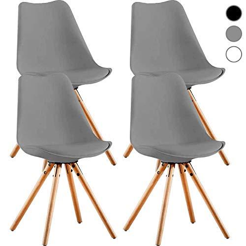 MIFI 4 x Esszimmerstühle 4er Set Esszimmerstuhl Tulpe Esszimmer Holzbeine Stuhl Eiffelturm Stuhl 4er Set Retro Design Stühle als Küchenstuhl, Bürostuhl, Lounge Stuhl Robust und Bequem (Grau)