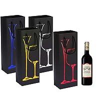inhemi sacchetti regalo vino con manici (confezione da 8)-disegni in lamina e glitter,4.8 * 3.1 * 13.9inch