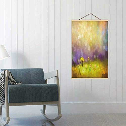 Oil painting nature grass flowers.Hand paint close up yellow dandelions,Poster pastel floral and shallow depth of field.Blurred background.Spring flowers background with bokeh Poster Frame 16x25in(WxH