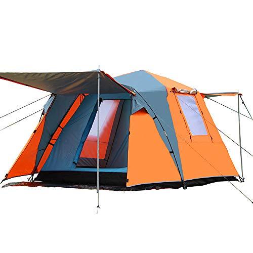 ZHANGJN Square Top Camping Tent - Double Couche extérieure Sun Shelter Entièrement Automatique Instantané Cabana Portable Verrière à l'ombre étanche pour Wilderness Survival Mountaineering-Orange