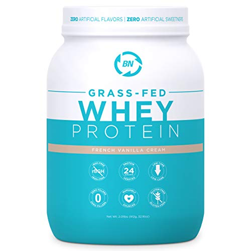 Grass Fed Whey Protein Vanilla 2lb - 100% Pure and Natural - 2 lb/26 Servings - 24g Protein - Cold Processed - Non-GMO - rBGH-Free - High Quality from Happy Healthy Cows USA