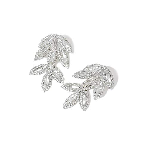 Silver Color Trendy Elegant Crystal Leaves Big Long Drop Earrings for Women Shiny Luxury Leaf Rhinestone Bridal Wedding Jewelry