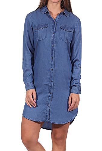 Vero Moda Vmsilla LS Short Dress Mix Ga Noos Vestido, Medio De Mezclilla Azul, L para Mujer