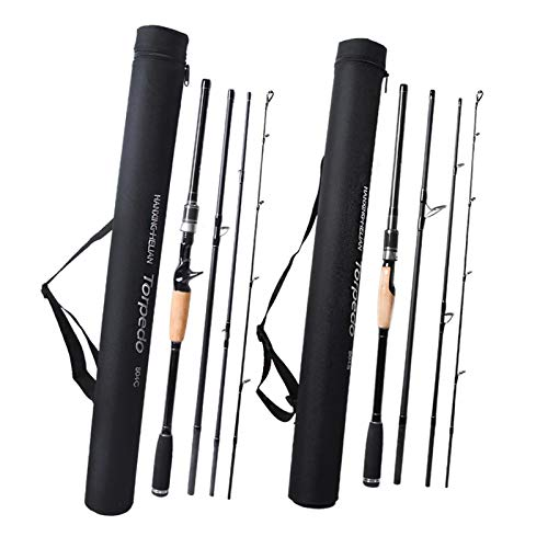Travel Fishing Rod Carbon Spinning Casting Lure Rod 2.1 2.4 2.7m 3m M Power 4 Sections Rods Carp Fishing (Color : Light Grey, Length : 2.4 m)