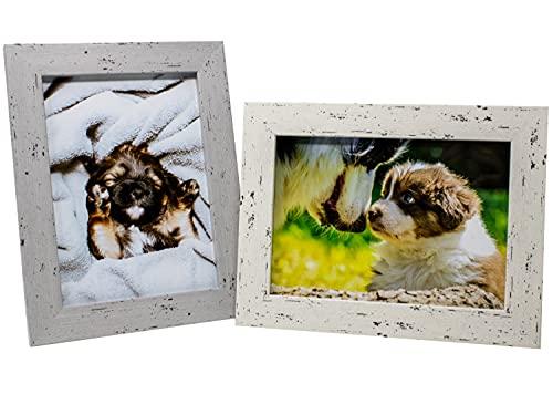 Selldorado® Juego de 2 marcos de fotos de madera de 13 x 18 cm en color blanco y gris – Marco de fotos con soporte en aspecto vintage Shabby Chic (B), blanco/gris