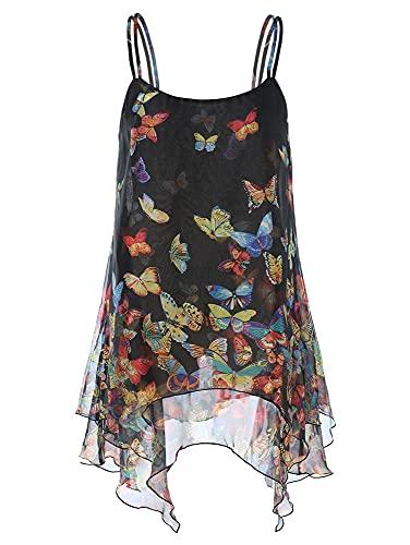 Damska, damska, luźna, luźna bluzka z tuniki w kształcie skrzydeł nietoperza, bluzka z szyfonu kwiatowego (Color : Black, Size : Medium)