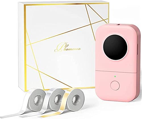 Phomemo D30 Impresora de etiquetas Bluetooth térmica Mini Máquina de etiquetas,Caja regalo con 3 rollos de etiquetas térmicas autoadhesivas,Fácil de usar en casa,escuela,oficina,tienda,Rosado