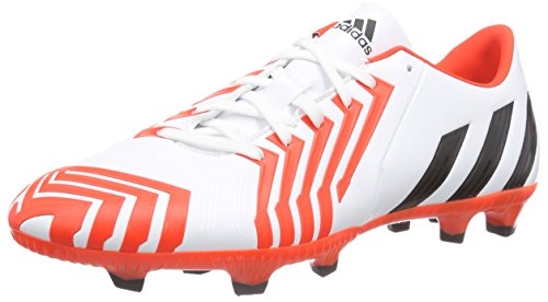adidas Predator Absolado Instinct FG, Chaussures de Football Compétition Homme, Blanc FTWR White Core Black Solar Red, 42 EU