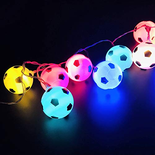 Lijerly 3 M / 9.8 Ft 20 Lights Battery Powered Football Soccer Shape LED String Lights for Indoor/Outdoor Halloween Christmas Thanksgiving Party Children Kids Bedroom Decoration (Multicolor)