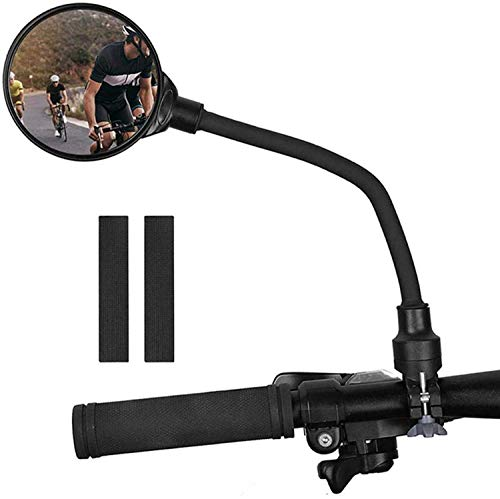 Bike Rearview Mirror with Gasket, Adjustable Rotatable Bending Bicycle HD Mirror Handlebar, Easy Install Motorbike Reflector for E-Bike Cycling Mountain Road Bike