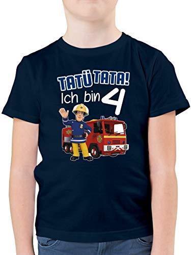 Feuerwehrmann Sam Jungen - Tatü Tata! Ich Bin 4 - blau - 116 (5/6 Jahre) - Dunkelblau - 4. Geburtstag - F130K - Kinder Tshirts und T-Shirt für Jungen