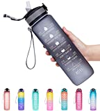 Giotto 32oz Large Leakproof BPA Free Drinking Water Bottle with Time Marker & Straw to Ensure You Drink Enough Water Throughout The Day for Fitness and Outdoor Enthusiasts-Gray
