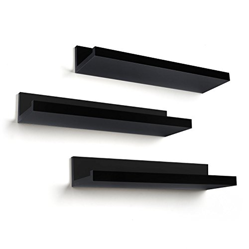 Americanflat Floating Shelves in Black Composite MDF - Wall Mounted Various Dimensions - Pack of 3