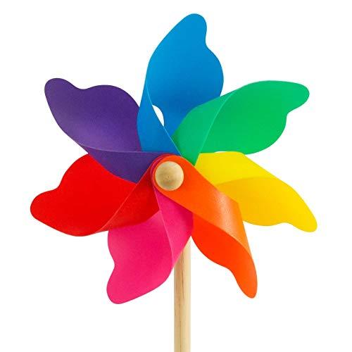 CIM Windspiel - Moulin 22 Rainbow - UV-beständig und wetterfest - Windrad: Ø22cm, Standhöhe: 56cm - fertig aufgebaut inkl. Standstab