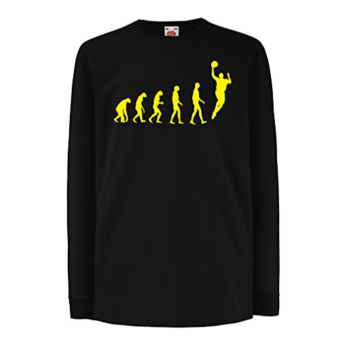 Camisetas de Manga Larga para Niño evolución de Baloncesto - Canasta de la Calle, me Encanta Este Juego, Gran Fan de Regalo (14-15 Years Negro Amarillo)