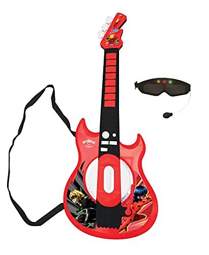 Lexibook K260MI Miraculous Elektronische Gitarre mit Licht, Brille mit Mikrofon, Demo-Songs, MP3-Stecker, Schwarz/rot