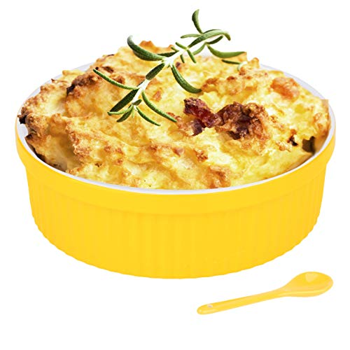 Souffle Dish Ramekins for Baking – 48 Oz, 1.5 Quart Large Ceramic Oven Safe Round Fluted Bowl with Mini Condiment Spoon for Soufflé Pot Pie Casserole Pasta Roasted Vegetables Baked Desserts (Yellow)
