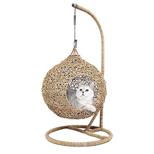 QinWenYan Cat Hammock Cat Luxury Vine Bed House Cat Hammock With Cushion Kitty House Pet Accessories Pet Hammock Stand Cat Household Goods Basket for Cat (Color : Beige, Size : 60x60x115cm)
