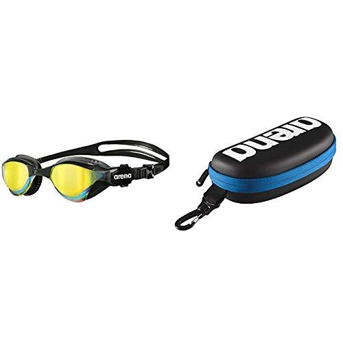 ARENA Unisex Triathlon Profi Wettkampf Schwimmbrille Cobra Tri Mirror, schwarz (Revo-Black), One Size & Unisex Schwimmbrillen Etui zur Aufbewahrung der Schwimmbrille, Black-White-Royal, One Size