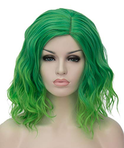 Ruina Short Green Wigs for Women, 14'' Soft Curly Wavy Bob Hair Wig, Natural Fashion Synthetic Full Wig, Cute Hair Wigs for St.Patrick's Day Daily Party Cosplay Halloween R019GR