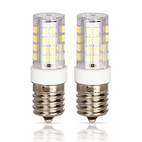 Simba Lighting LED E17 Microwave Appliance Light Bulb (2 Pack) 4W T8 40W Incandescent Replacement for Ovens, Under Hood, Stove Top, Range, 120V, Intermediate Screw Base, Non-Dimmable, 6000K Daylight