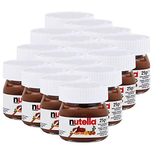 Ferrero Nutella Kleines Mini Design Glas 16er Set a 25g, Brotaufstrich, Nussnugatcreme, Schokoladen Auftrich