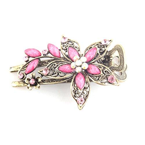 Vintage Damen Blume Kristall Haarspangen Haarspangen Haarschmuck (Pink)