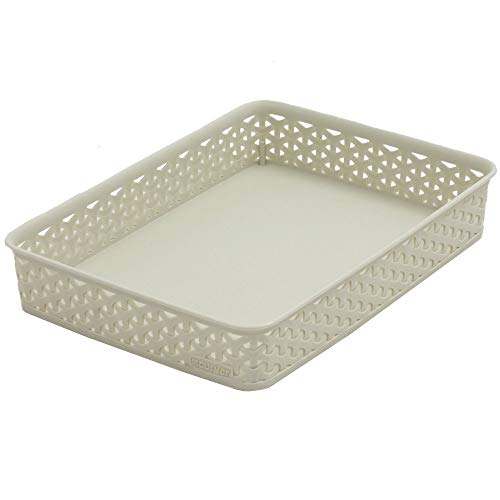 CURVER Basket My Style Office A4 Rattan-optic in creme, 36 x 26 x 6 cm