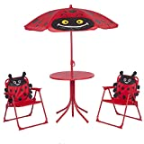 Kids Folding Picnic Table and Chairs Set with Removable Beach Umbrella Mini Camping Table Set with 2...